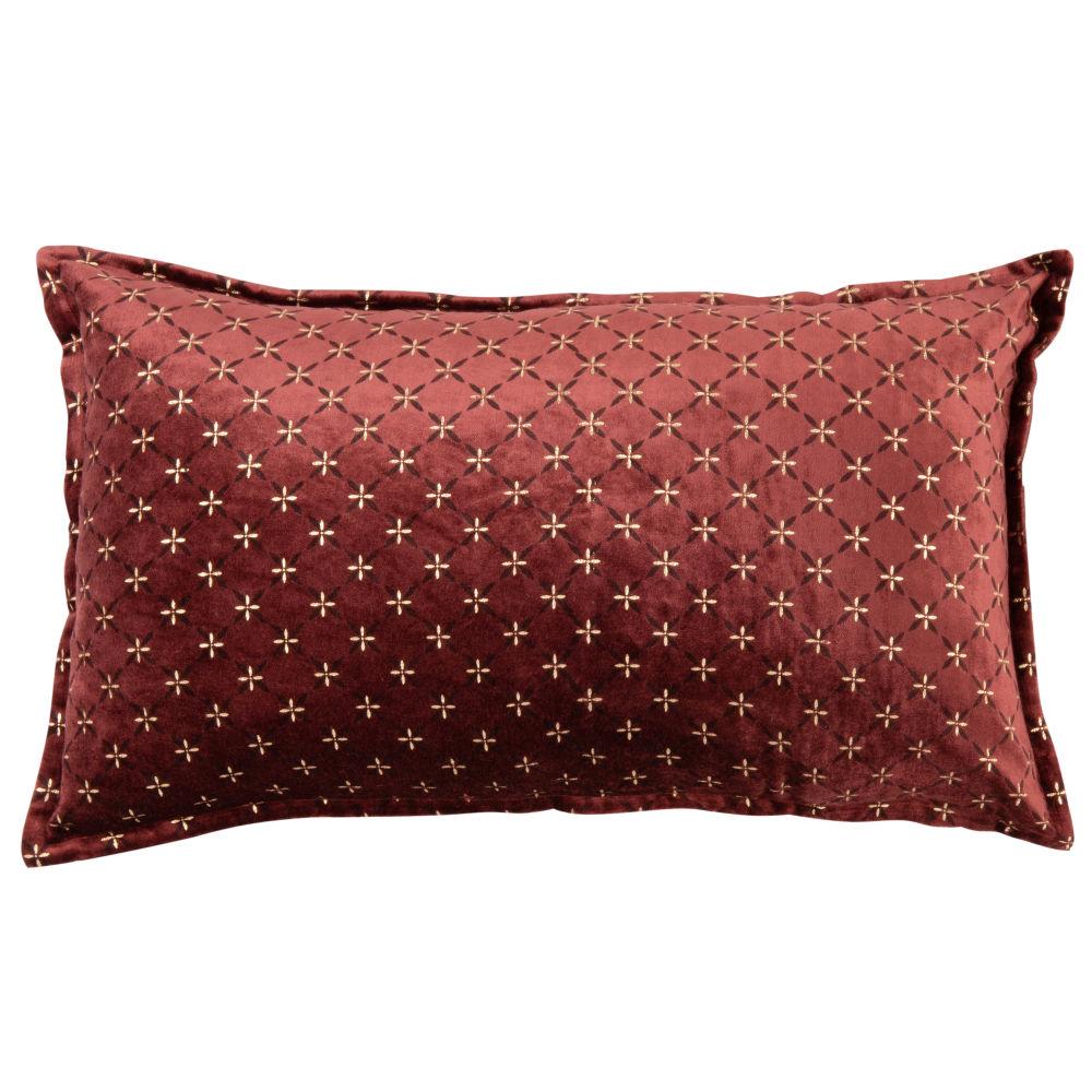 Kissenbezug aus Samt, rosa und rot mit goldenen Motiven 30x50