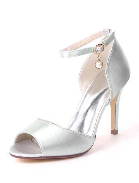 Milanoo Women High Heels Satin Peep Toe Ankle Strap Wedding Shoes Ink Blue Pearls Mother Shoes