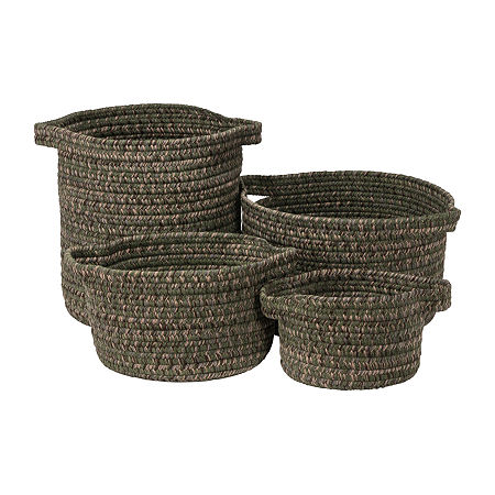 Colonial Mills Grafton Tweed Braided Basket, One Size , Green