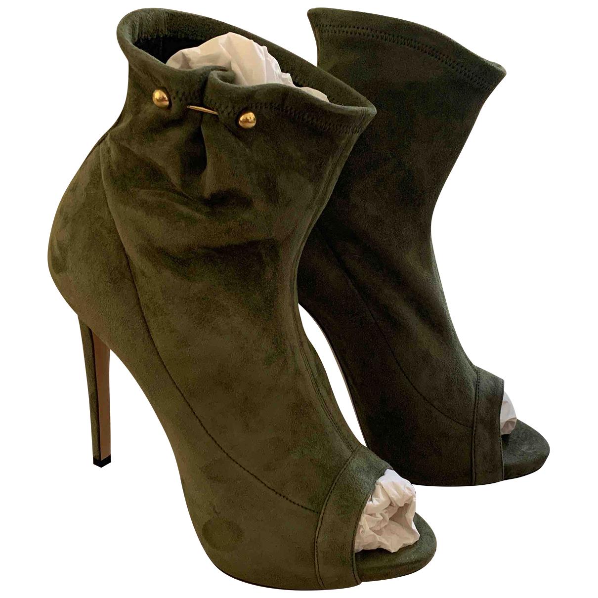 Ermanno Scervino - Boots   pour femme en suede - vert