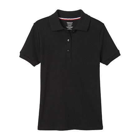 French Toast Big Girls Short Sleeve Polo Shirt, Xx-large , Black