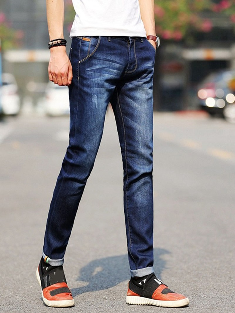 Ericdress Worn Mid Waist European Jeans