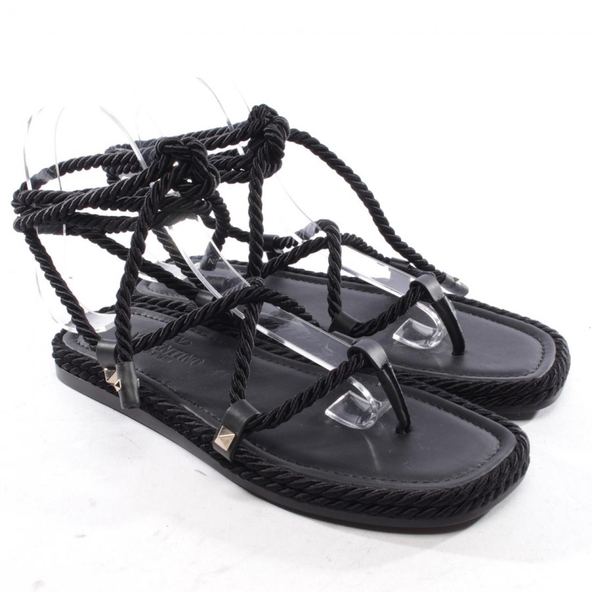 Valentino Garavani \N Black Cloth Sandals for Women 35 EU