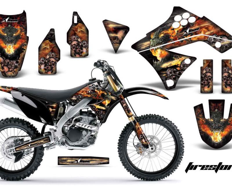 AMR Racing Dirt Bike Graphics Kit Decal Sticker Wrap For Kawasaki KX250F 2009-2012áFIRESTORM BLACK