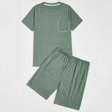Men Pocket Detail Tee With Shorts PJ Set