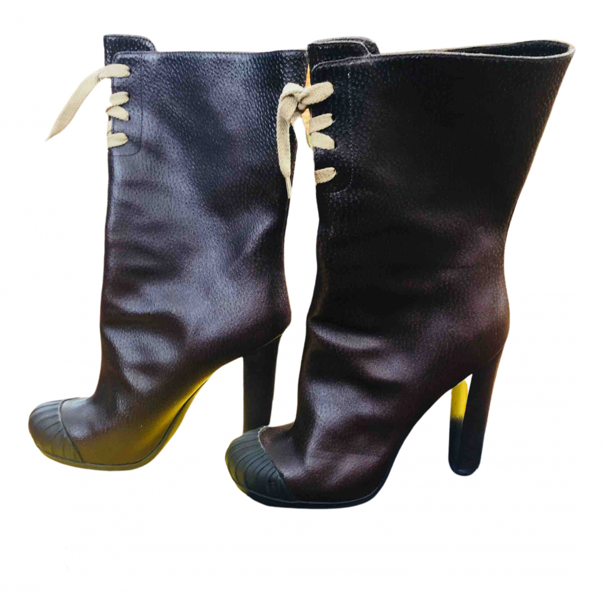 Fendi N Brown Leather Ankle boots for Women 40 IT