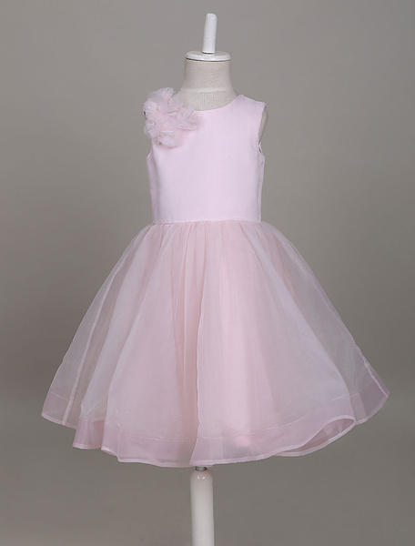 Milanoo Flower Girl Dresses Soft Pink Tutu Dress Organza Satin Short Formal Party Dresses For Girls