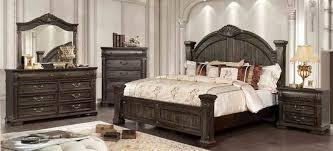 Genevieve CM7428Q-BED-NSCHDRMR 5-Piece Bedroom Set with Queen Size Bed  Nightstand  Chest  Dresser and Mirror in Distressed