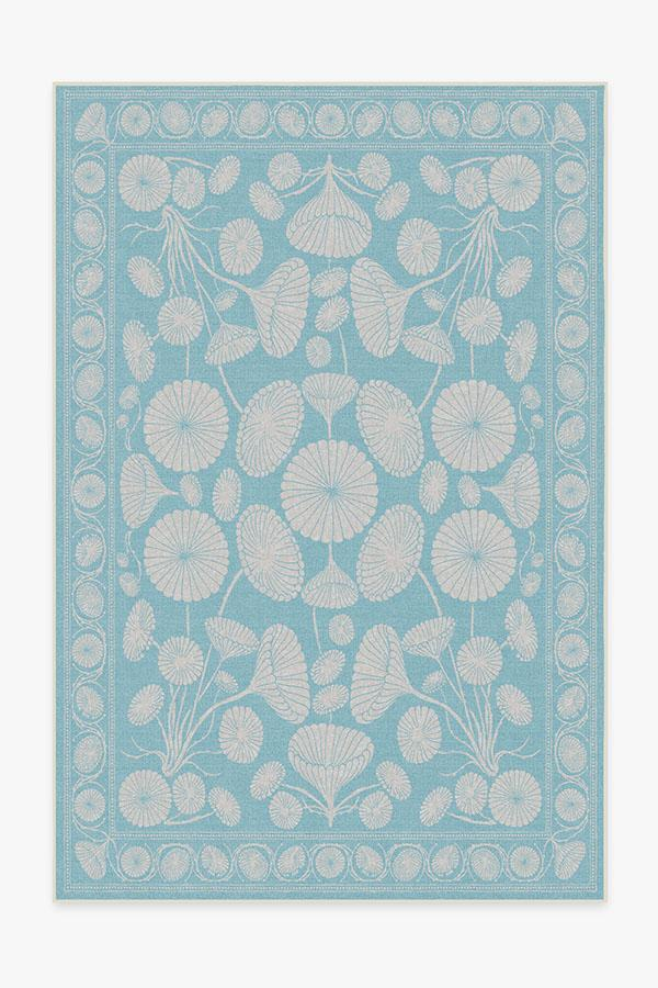 Washable Rug Cover | Cynthia Rowley Suzani Powder Blue Rug | Stain-Resistant | Ruggable | 6'x9'