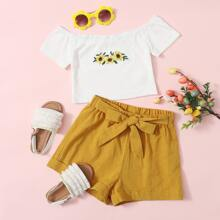 Girls Embroidered Sunflower Bardot Top & Tie Front Cuffed Shorts Set