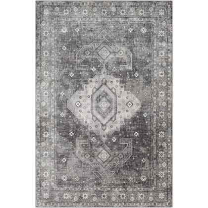 Indigo IGO-2324 67 x 9 Rectangle Traditional Rug in Charcoal  Medium Gray  Black