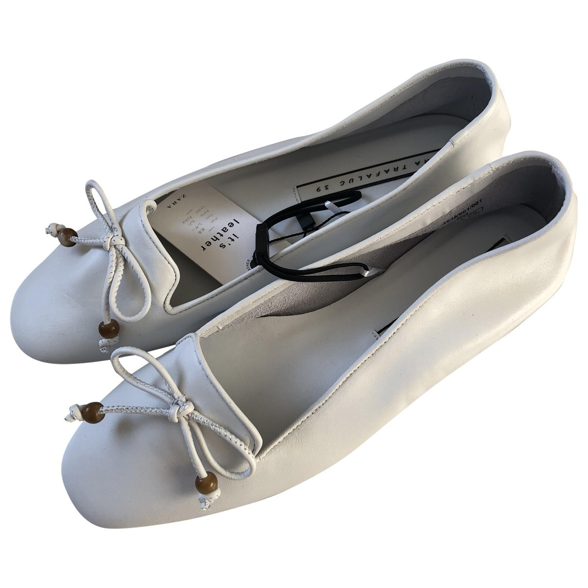 Zara \N White Leather Flats for Women 39 EU