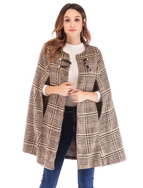 Milanoo Abrigo de poncho a cuadros para mujer Hebilla Tweed Abrigo de invierno para mujer
