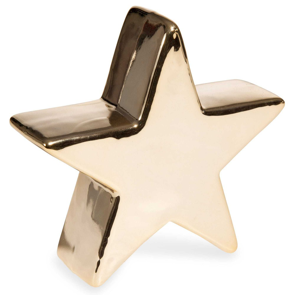 Dekofigur goldfarbener Stern aus Keramik H13