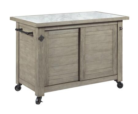 Junction Collection 710-589 Shiplap Kitchen Island in White Collar  Smoke and