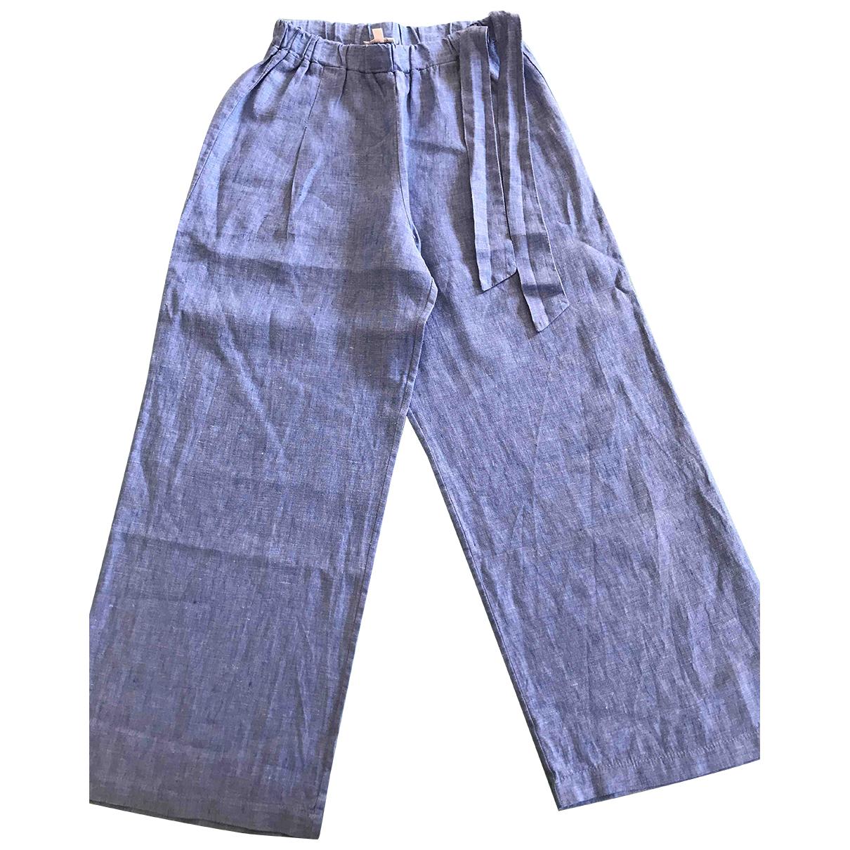 Autre Marque - Pantalon   pour enfant en lin - bleu