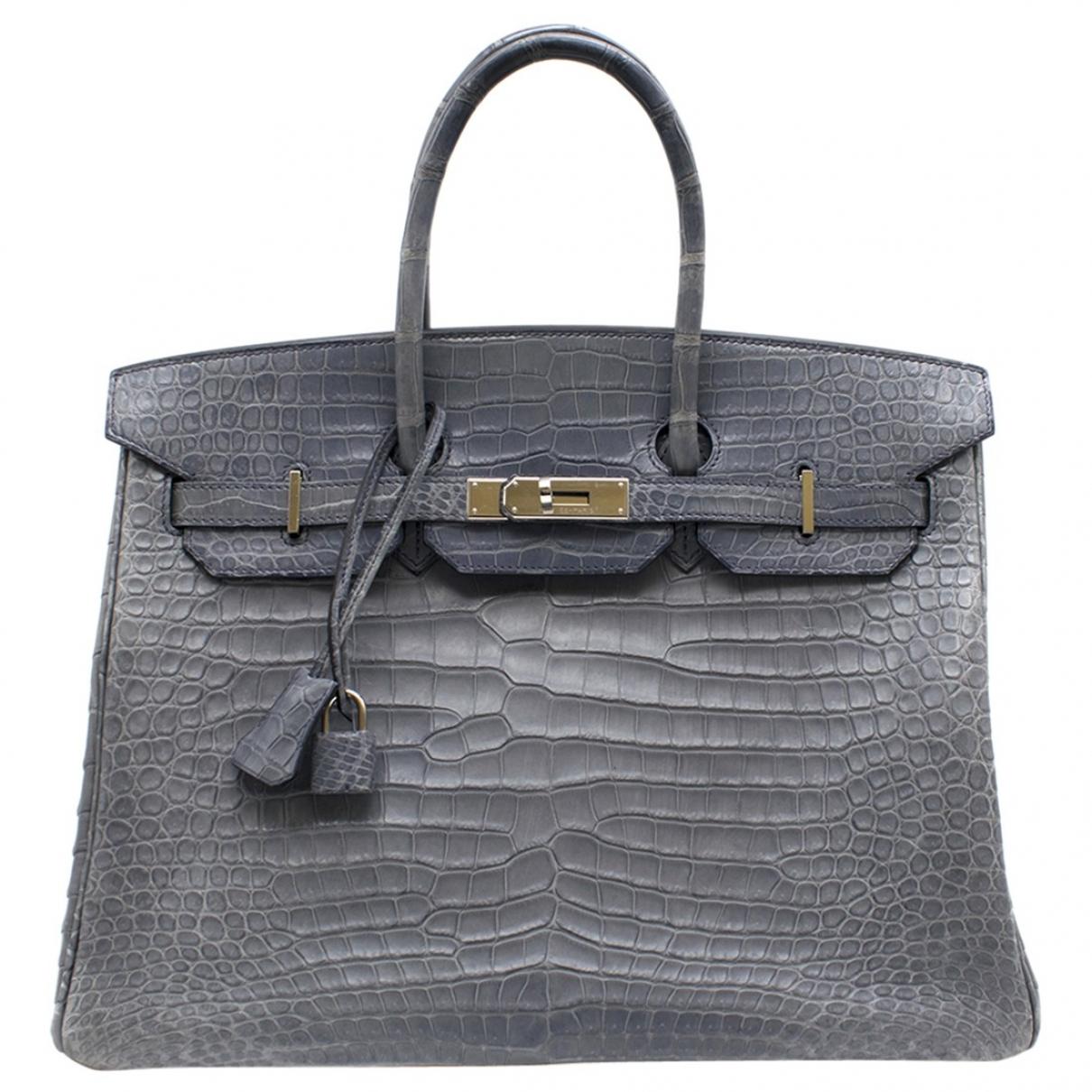 Hermes Birkin 35 Handtasche in  Blau Aligator