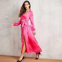 Neon Pink Split Thigh Belt Satin Dress