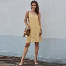 Cami Sommerkleid mit Bluemchen Muster und Knopfen vorn