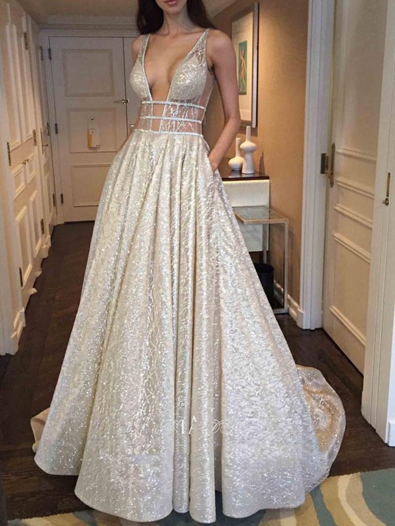 Ericdress V-Neck A-Line Sequins Floor-Length Formal Dress 2020