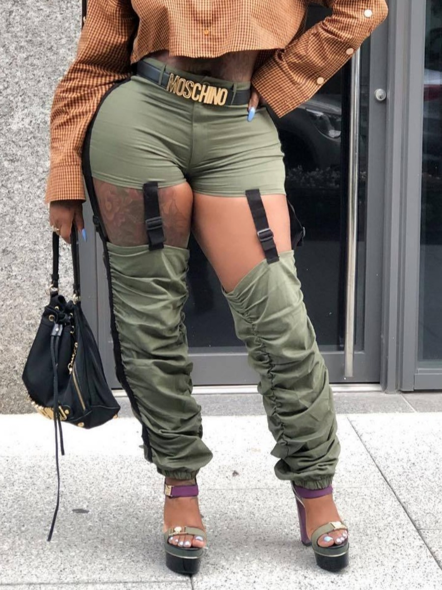 LW lovely Street Fold Design Hollow-out Army Green Pants