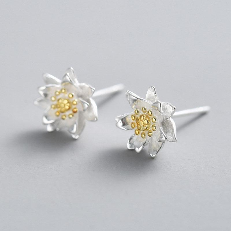Ethnic 925 Sterling Silver Earrings Elegant Classic Lotus Flowers Stud Earrings for Women