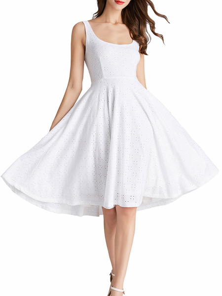 Milanoo White Summer Dresses Backless Sleeveless Swing Dress