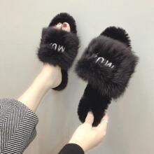 Letter Detail Fluffy Slippers