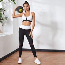 Sports BH mit Reissverschluss & Sports Leggings mit Kontrast Netzstoff