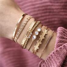 7pcs Rhinestone Decor Chain Bracelet