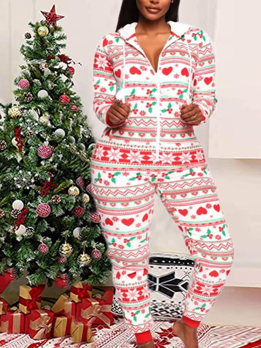 LW Lovely Casual Hooded Collar Christmas Day Print White One-piece Jumpsuit