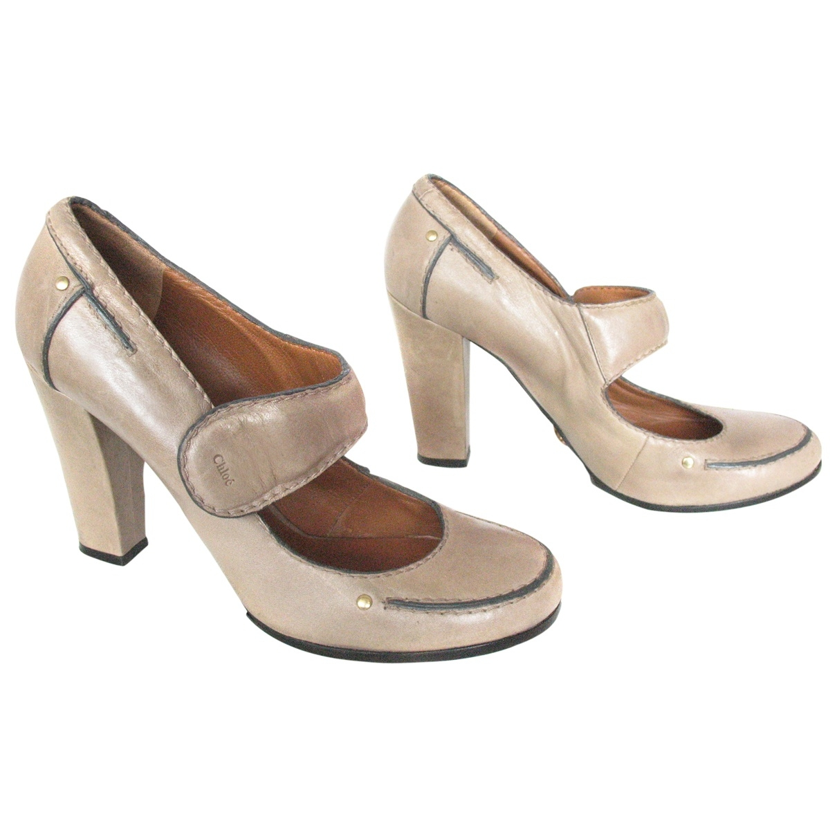 Chloé \N Beige Leather Heels for Women 39.5 EU