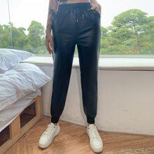 Eilly Bazar Drawstring Waist Leather Look Pants