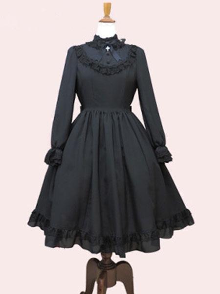 Milanoo Classic Lolita OP Dress Ruffle Bow Pleated Black Lolita One Piece Dress