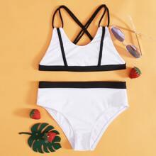 Girls Contrast Binding Crisscross Bikini Swimsuit