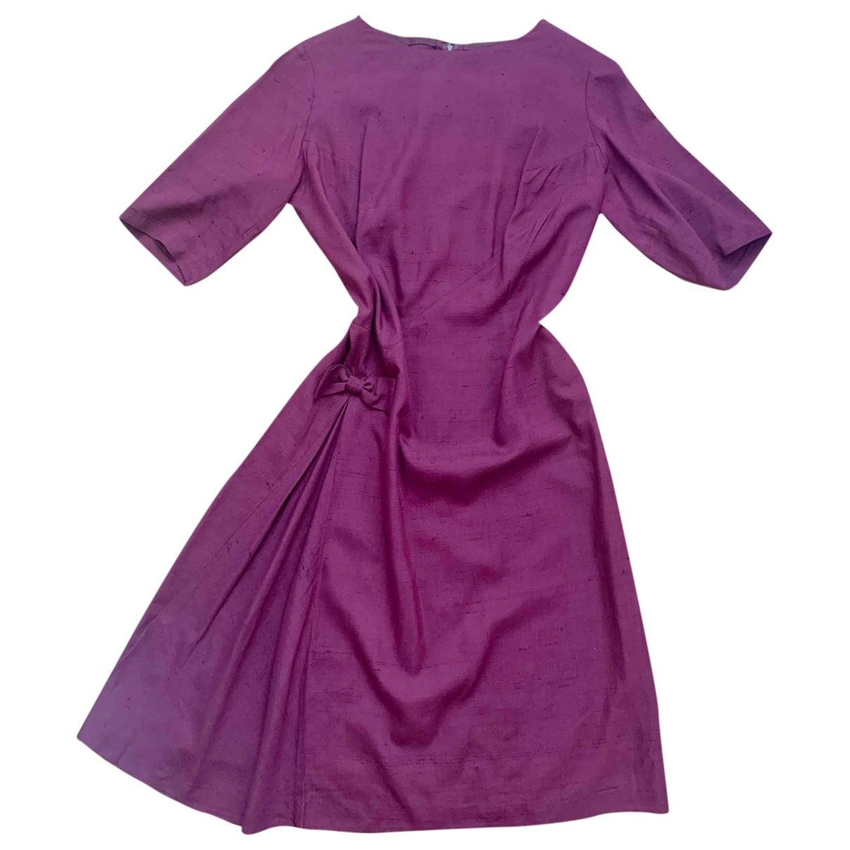 Non Signé / Unsigned \N Burgundy Silk dress for Women 10 UK