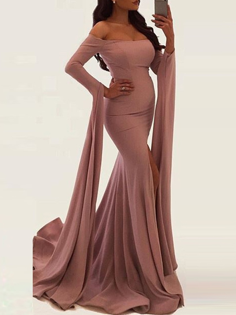 Ericdress Long Sleeve Floor-Length Pleated Mermaid Dress