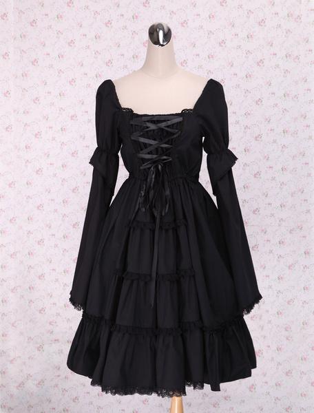 Milanoo Puro Negro Lolita Enterizo Vestido Largas Mangas Encaje