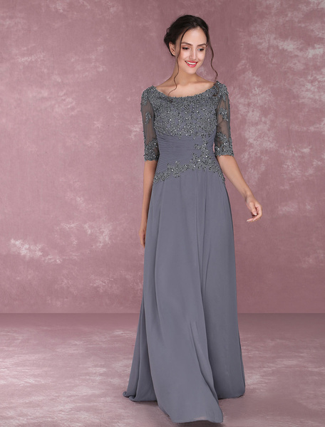 Milanoo Grey Party Dresses Lace Applique Beading Mother Of The Bride Dresses Chiffon Half Sleeve Pleated Party Dress wedding guest dress