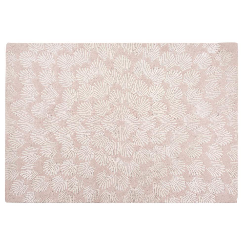 Getufteter Wollteppich, rosa, ecrufarben bedruckt 140x200