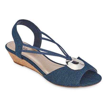 east 5th Womens Ravena Wedge Sandals, 8 Wide, Blue