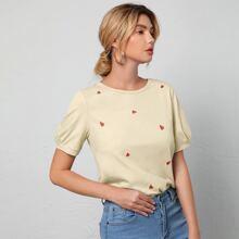 Camiseta con sandia con bordado de manga farol
