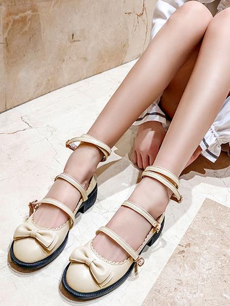 Milanoo Sweet Lolita Shoes Bows Round Toe PU Leather Lolita Pumps