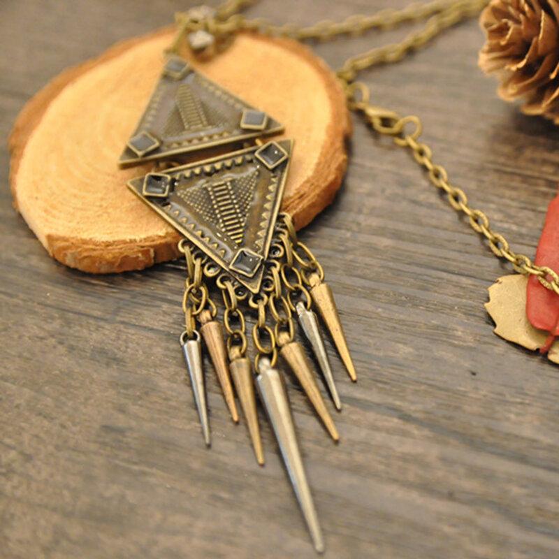 Vintage Men Women Pendant Necklace Diamond Long Sweater Chain Necklace Cotton Linen Garment Accessories
