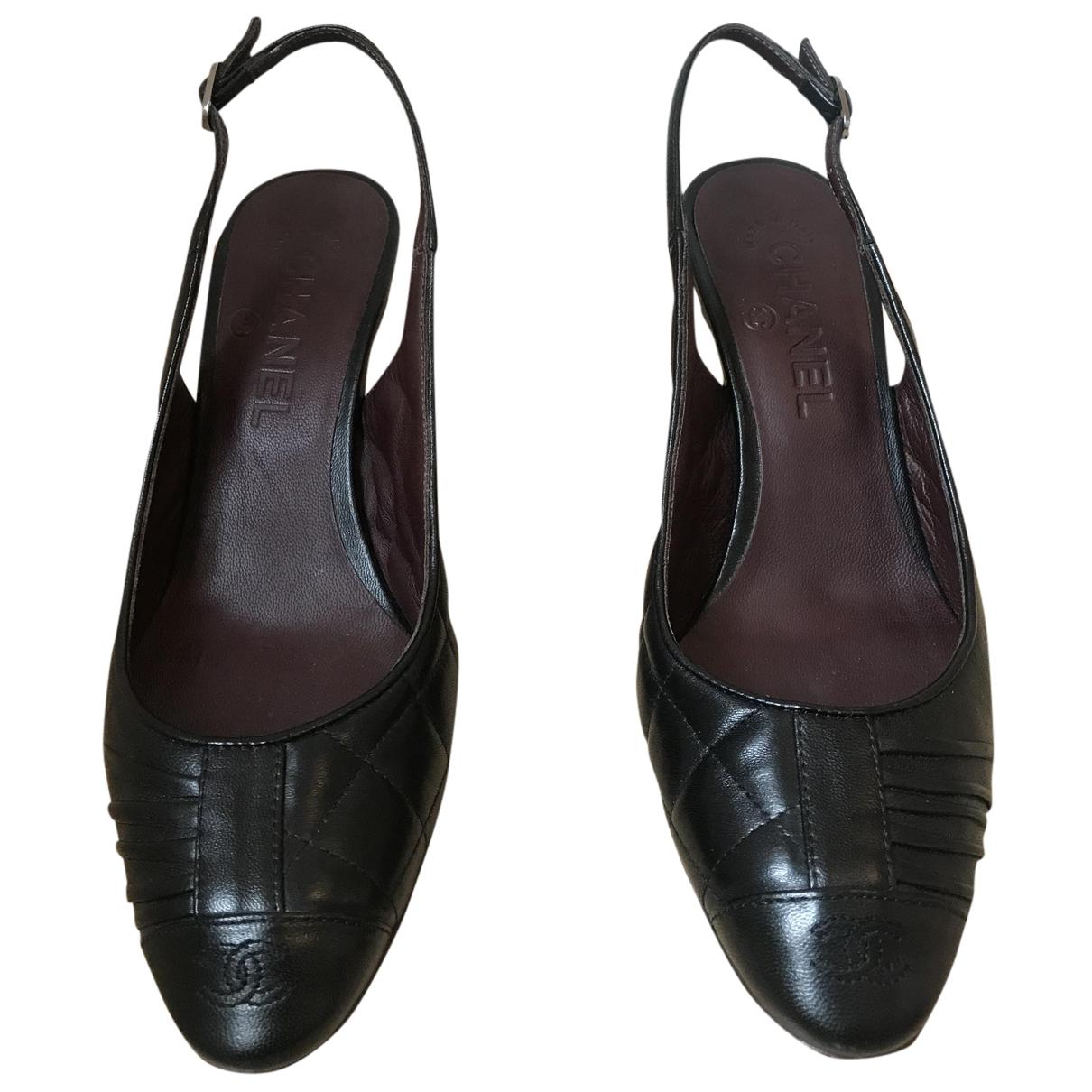 Chanel N Black Leather Heels for Women 36 EU