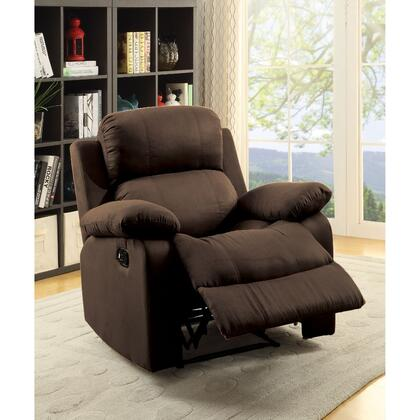BM185748 Contemporary Style Upholstered Recliner with Cushioned Armrests  Chocolate