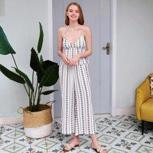 PJM Cami Top mit Streifen, geometrischem Muster & Hose mit seitlichem Schlitz Schlafanzug Set