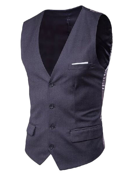 Milanoo Blue Suit Vest Plus Size V Neck Pocket Button Men Waistcoat