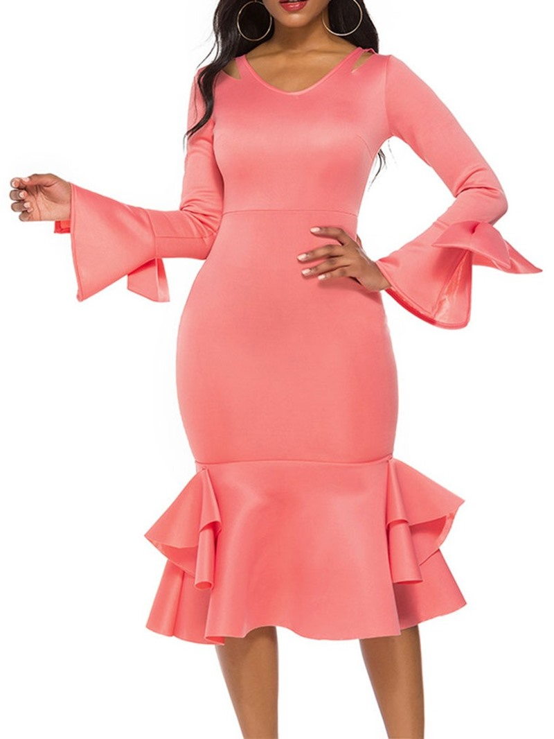 Ericdress Mid-Calf Long Sleeve V-Neck Pullover Mermaid Dress