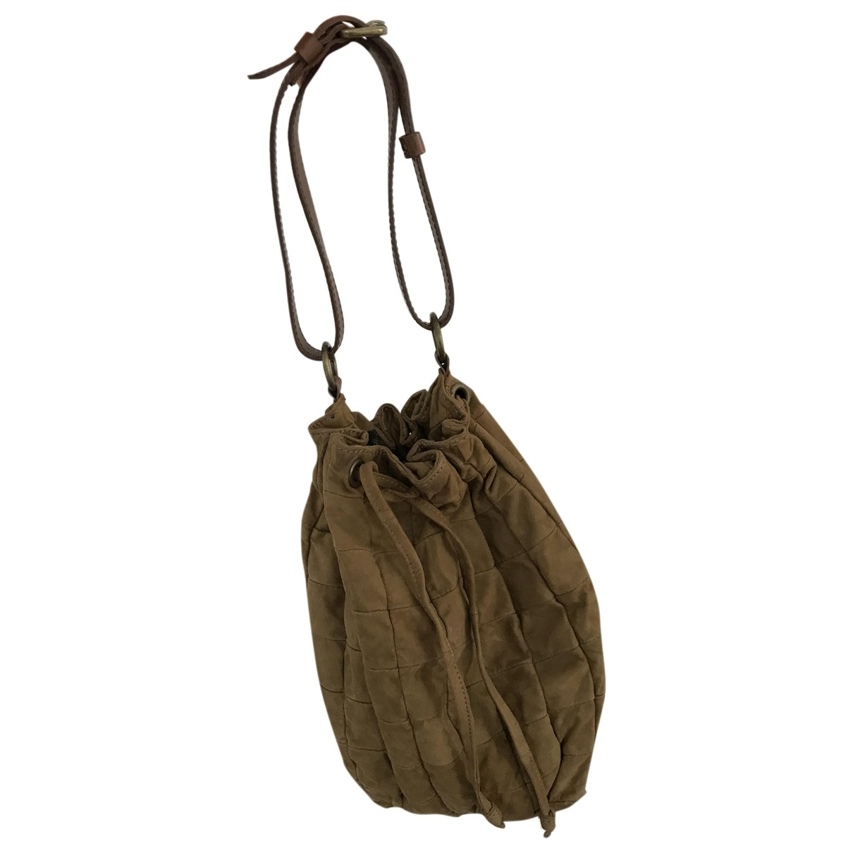 Non Signé / Unsigned \N Khaki Suede handbag for Women \N